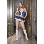 Mavi Saten Seksi Denizci Kız Kostümü