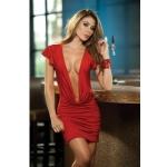 Göğüs Dekolteli Kırmızı Seksi Elbise