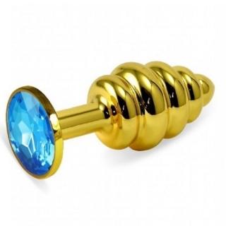 Kristal Taşlı Küçük Boy Gold Boğumlu Metal Anal Plug